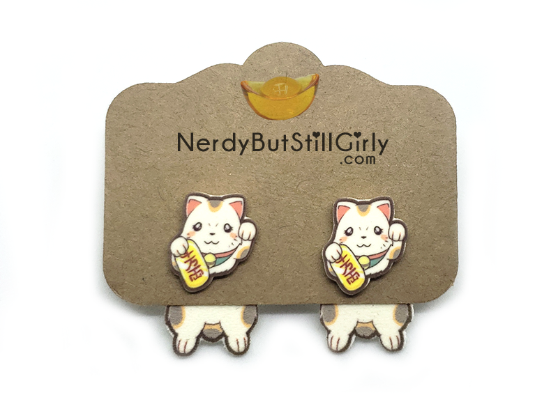 Maneki-neko (Lucky Cat) Cling Earrings