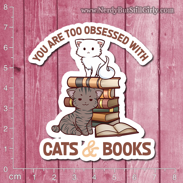 Cats and Books Vinyl Sticker