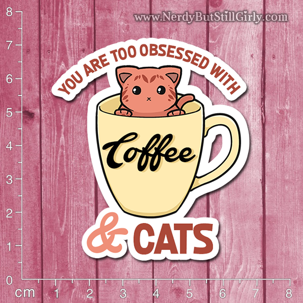 Cats and Coffee Vinyl Sticker
