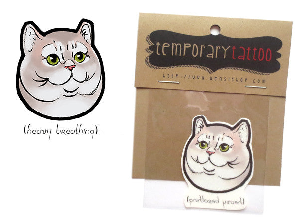 Heavy Breathing Cat Temporary Tattoo