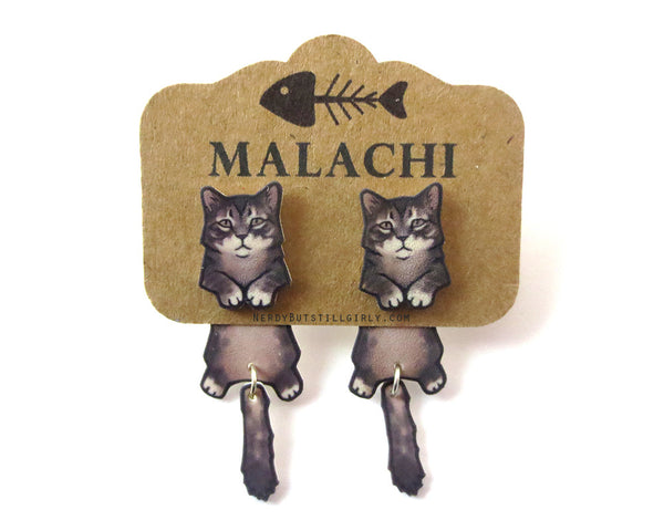 Cat Tabby Maine Coon (Malachi) Cling Earring