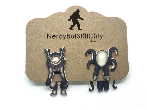 CreepyPasta (Wendigo and Slenderman) Cling Earring