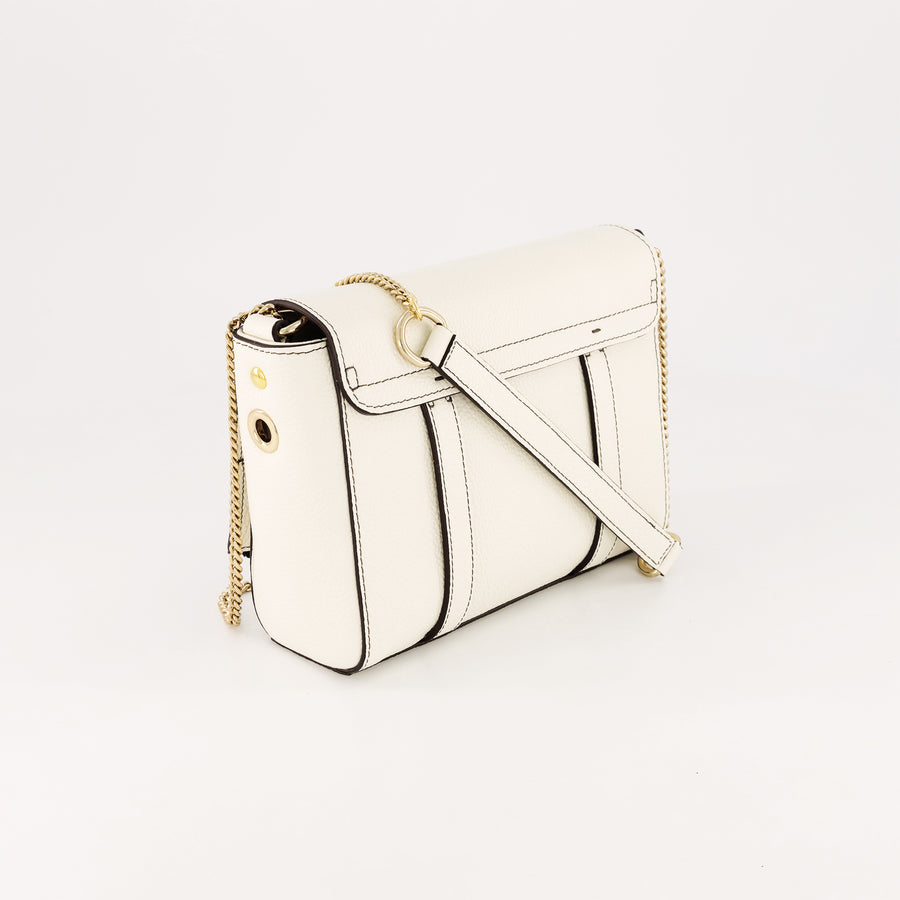 Baby Pop White Grained Leather Mini Bag