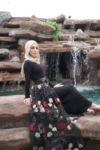 Load image into Gallery viewer, Black Sheer Rose Skirt
