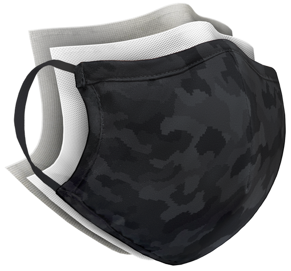 Structured Silver Mask 3 Layer - Black Camo