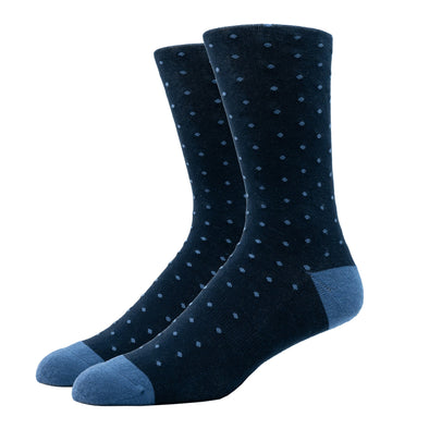 MEN'S SILVER CREW SOCKS | DOTTED BLUE