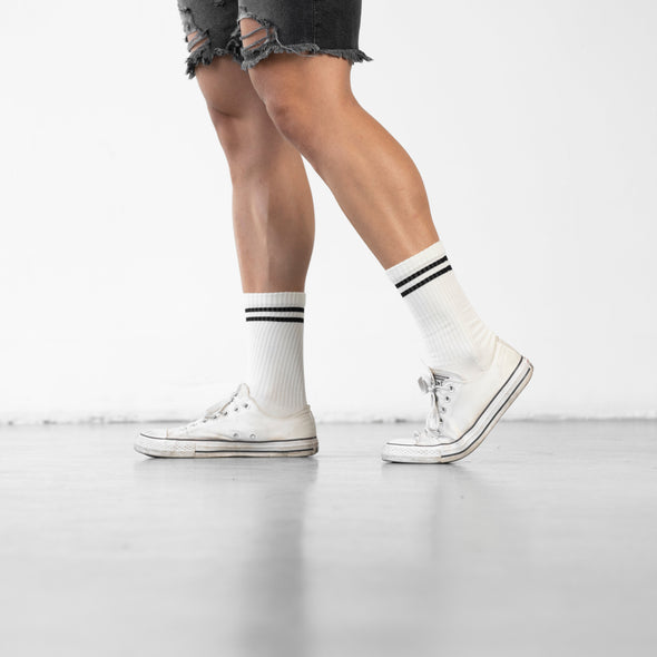 MEN'S SILVER RETRO SOCKS | OFF WHITE