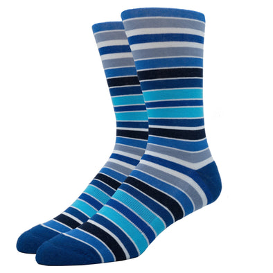 MEN'S SILVER CREW SOCKS | SHADES OF BLUE