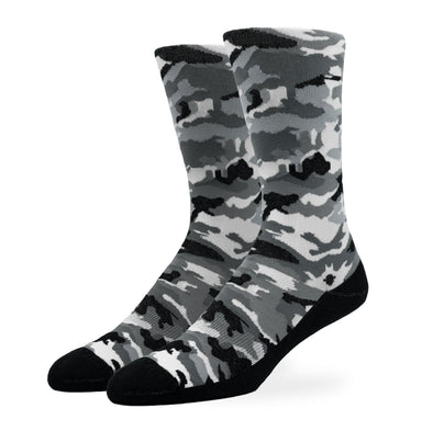 MEN'S SILVER CREW SOCKS | BLACK CAMO