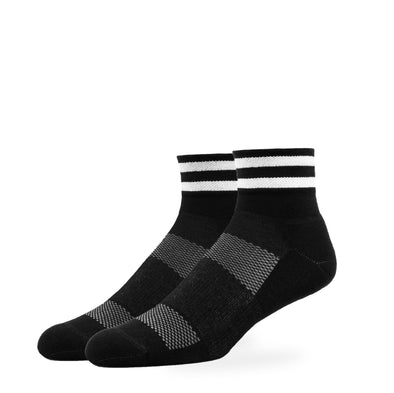 MEN'S SILVER RETRO-QUARTER SOCKS | BLACK