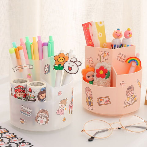 Kawaii Rotating Pen Holder Desktop Organiser (with stickers to customise)