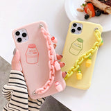 Kawaii 3D Milk Drink Bottle with Wrist Strap Phone Case For iphone