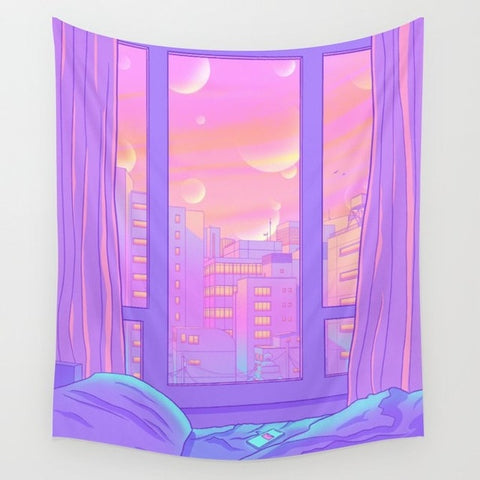 Kawaii Anime Dream landscape Tapestry Cover