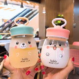 Kawaii Bear Cup Glass Water Bottle (350ml)