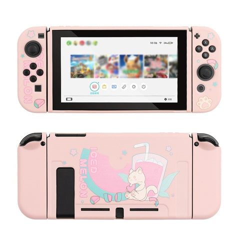 Kawaii Kitten Cat Melon Switch Skin For Nintendo Switch Game Console