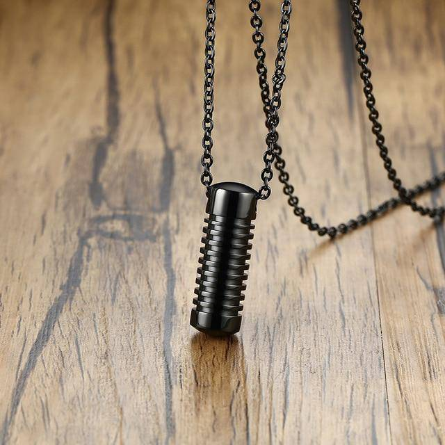 Screw Design Cylinder Necklace - moderncaveman
