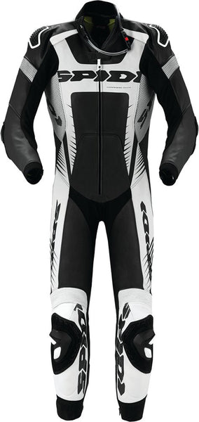 Spidi Warrior Wind Pro Leather Suit-Blk/Wht/Sil