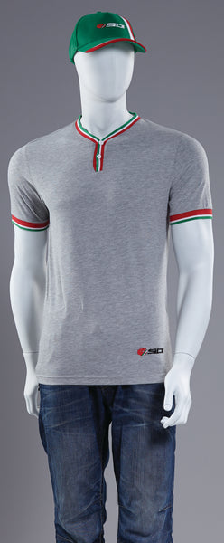 Sidi Casuals T-Shirt-Regal Button Grey
