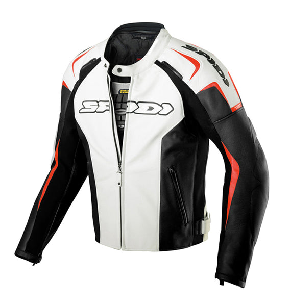 Spidi Track Leather Jacket-White/Red/Black