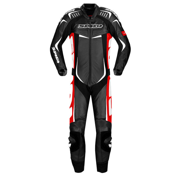 Spidi GB Track Wind Pro CE Leather Suit-Black/Red/Wh
