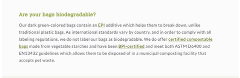 Earth Rated Bags Misleading