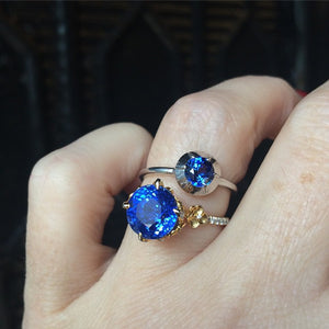 Unique designer heirloom sapphire and diamond engagement ring