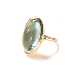 Large Aquamarine Cabochon Ring