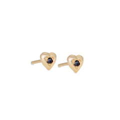 Tiny Heart Studs With Black Diamonds