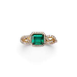 Unique designer diamond emerald engagement ring with love knots