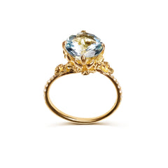 Unique designer aquamarine engagement ring