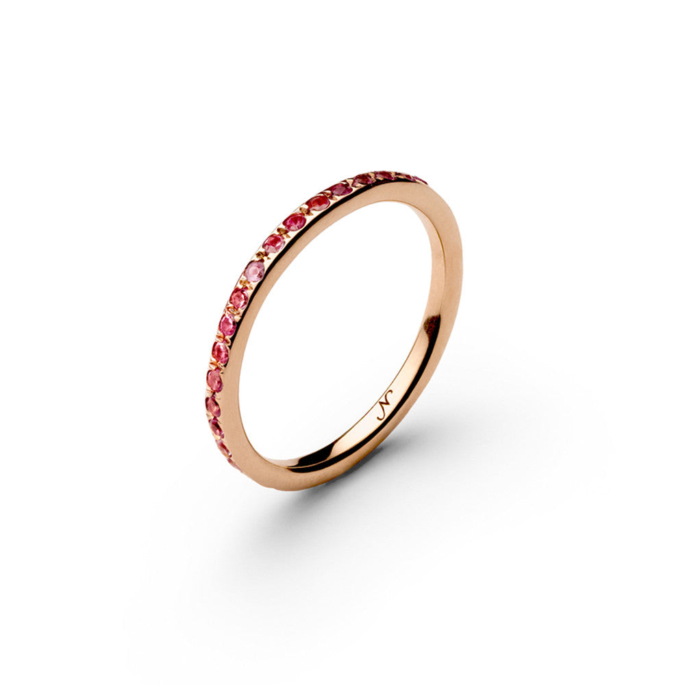 Unique designer rose gold wedding band pink sapphire engagement ring