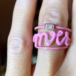 Mrs. Script Ring with enamel & diamond