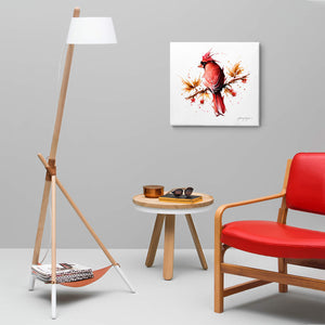 Cardinal bird canvas wall art hanging in a living room.