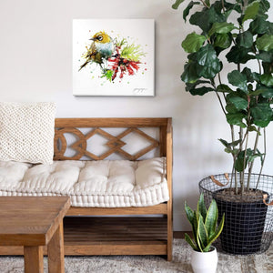 Tui bird canvas wall art hanging in a living room.