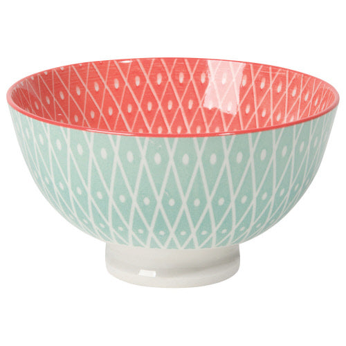 "Now Designs 4"" Stamped Bowl Blue/Pink Geo"