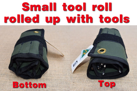 Small tool roll rolled up with tools