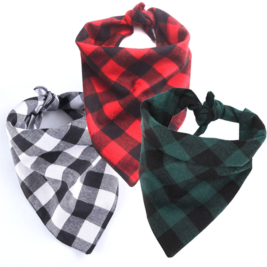 Three pack of Plaid Flanno Dog Bandanas