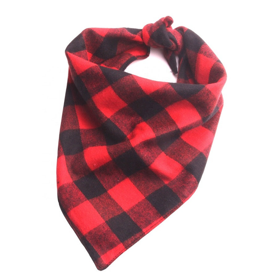 Red and Black Plaid Flanno Dog Bandana