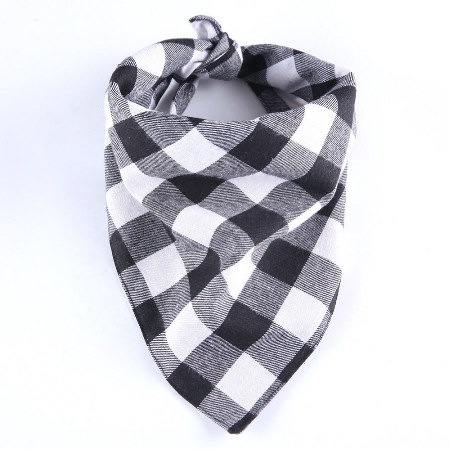 White and Black Plaid Flanno Dog Bandana tied up.