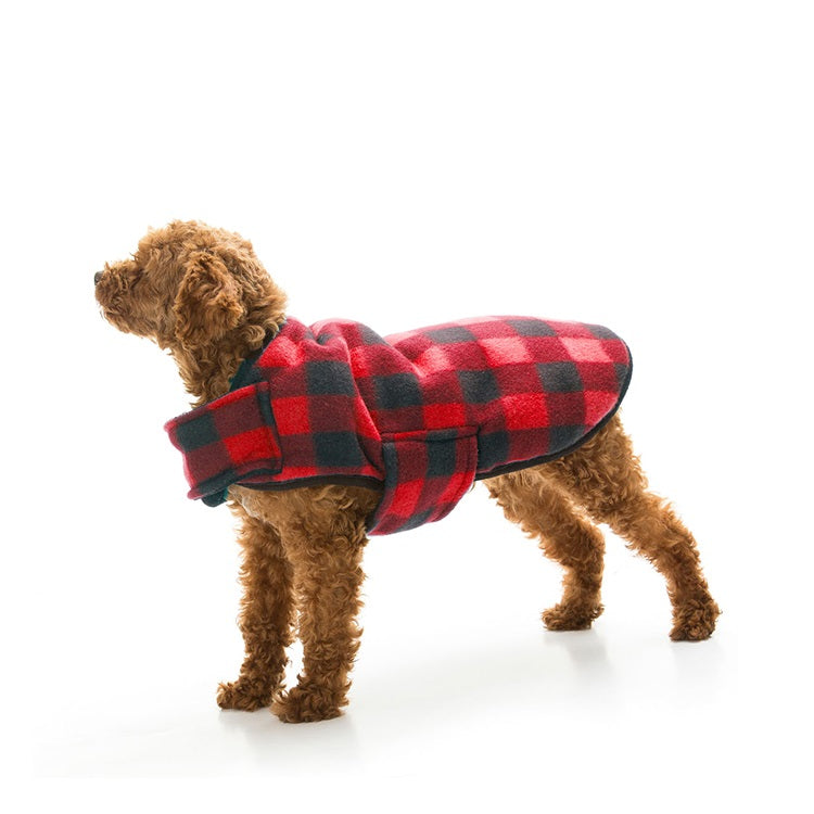 Brown Dog wearing a Red Soft Snuggly Flanno Dog Jacket