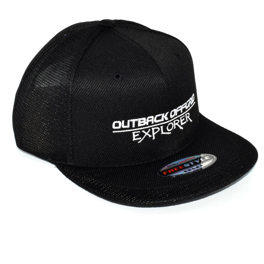Explorer Flat Peak Cap Right Side Black