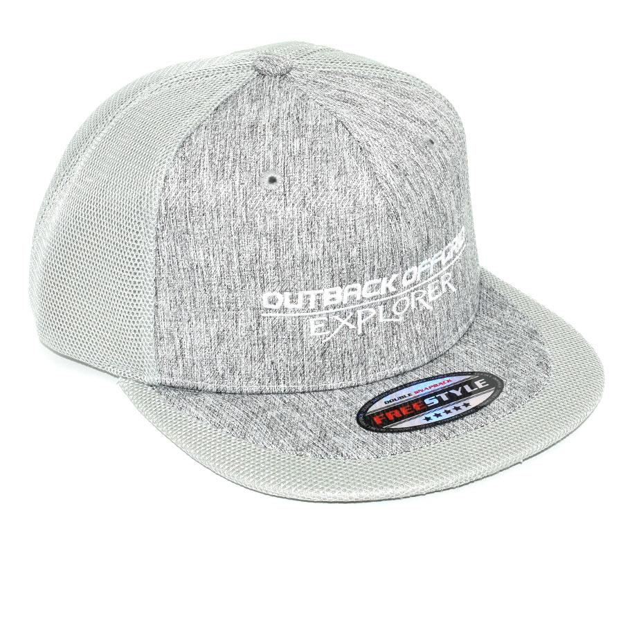 Explorer Flat Peak Cap Right Side Light Grey Marl