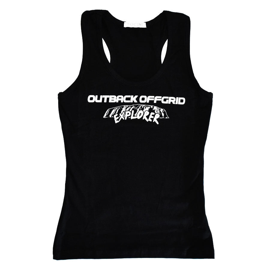Ladies Explorer X-Back Singlet Front Black