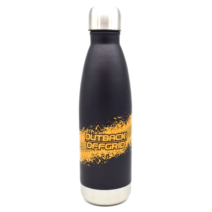 Off Track Double Walled Black Drink Bottle with Orange Print