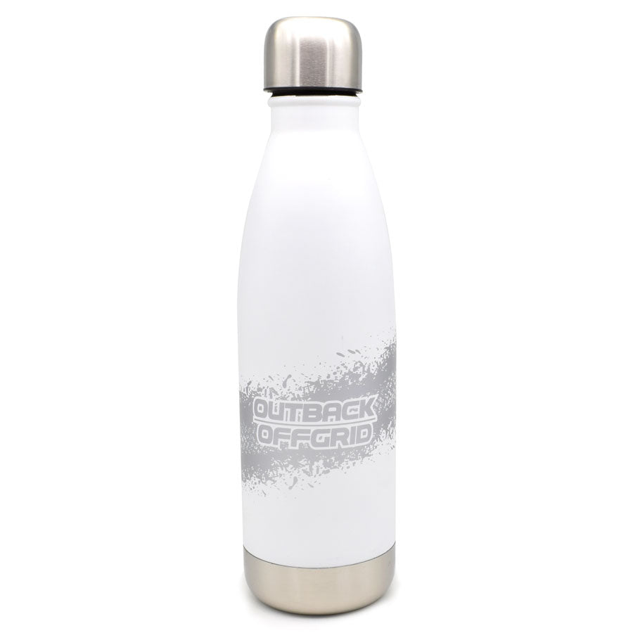 Off Track Double Walled White Water Bottle with Silver Print