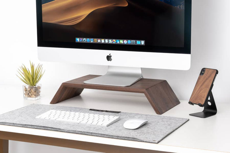 Walnut - Solid Wood Monitor/iMac Stand