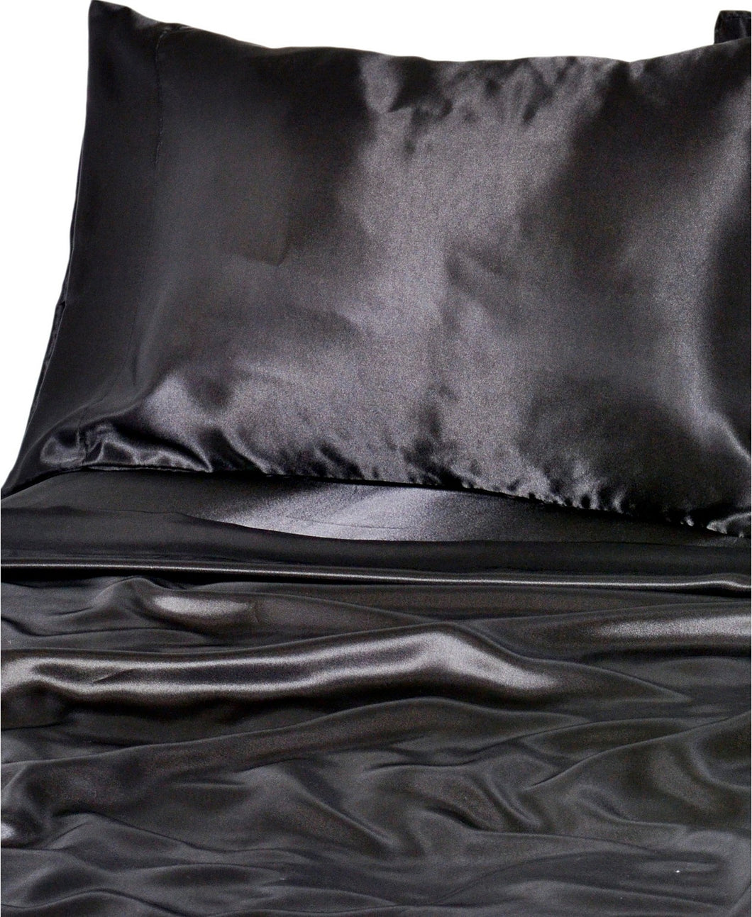 DF Elite Luxurious Satin Sheet Sets, (Black.)