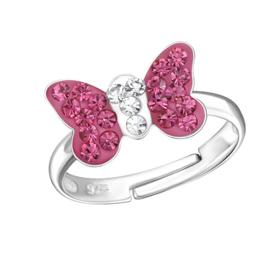 Kinder Ring Fingerring mit Schmetterling pink Strass verstellbar 925er