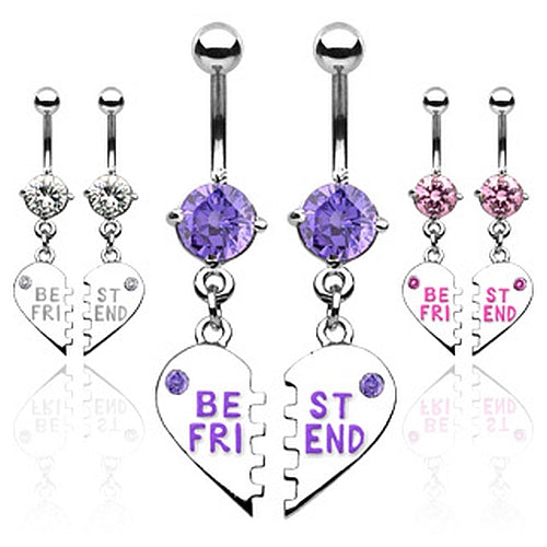 1 Paar Bauchnabelpiercing BEST FRIEND Herz mit Zirkonia - 2er Set - Cristal-Jewelry
