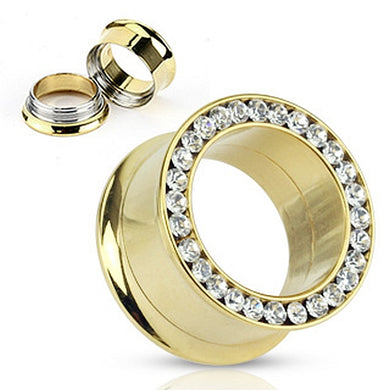 Double Flared Flesh Tunnel Gold Pated Strass C316L